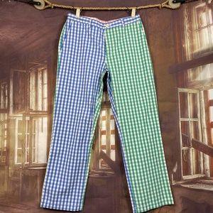 men's Vineyard Vines khaki pants Checkers green blue festive preppy 32 x 30
